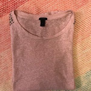 Pink tee with pleated shoulders